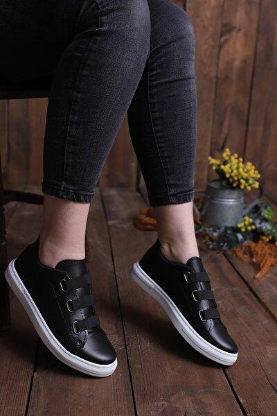 Kadın Siyah Lastikli Casual Günlük Ayakkabı