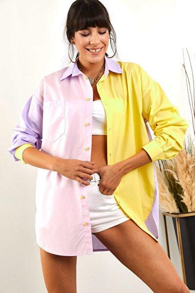 Kadın Sarı Pembe Renk Bloklu Boyfriend Poplin Gömlek GML-19000816