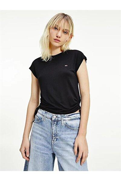 Kadın Siyah T-Shirt Tjw Regular Sıde Knot Tee DW0DW09776