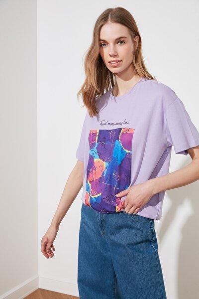 Açık Mor Baskılı Boyfriend Örme T-Shirt TWOSS20TS1206