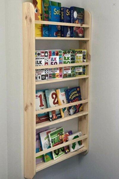 Montessori Çocuk Odası Eğitici Kitaplık Ahşap Duvara Monte 4 Raflı