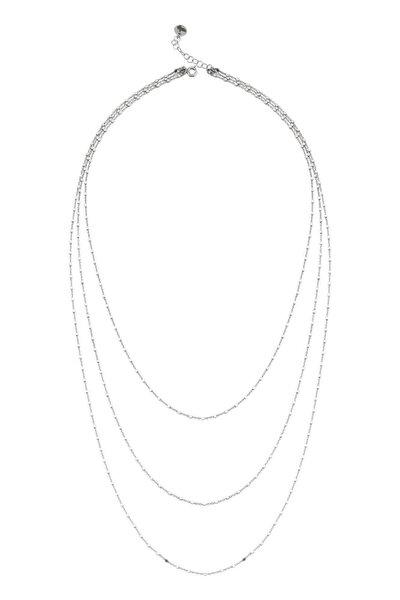 Kadın Gümüş Katmer Aynalı Üçlü Kolye Uzun C556