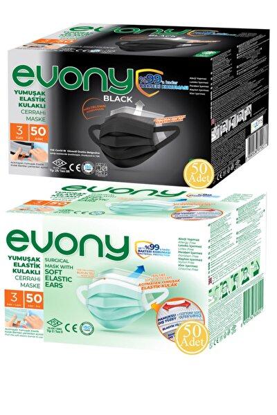 Siyah Elastik Kulaklı Maske 50 Adet + Yeşil Elastik Kulaklı Maske 50 Adet