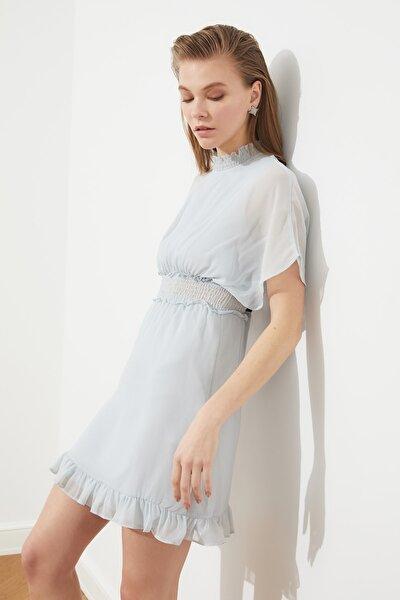 Gri Gipe Detaylı Şifon Elbise TPRSS21EL0872
