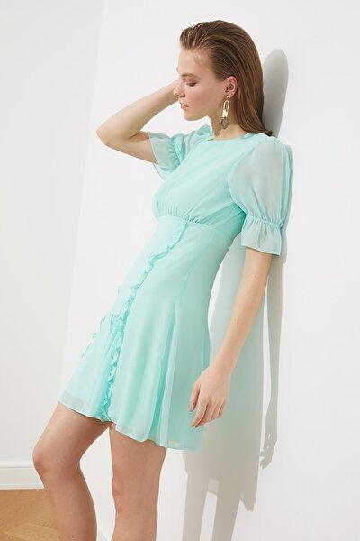 Mint Kol Detaylı Şifon Elbise TPRSS21EL0889