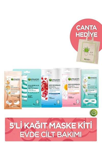 5'li Kağıt Maske Kiti Evde Cilt Bakımı + Bez Çanta Hediye