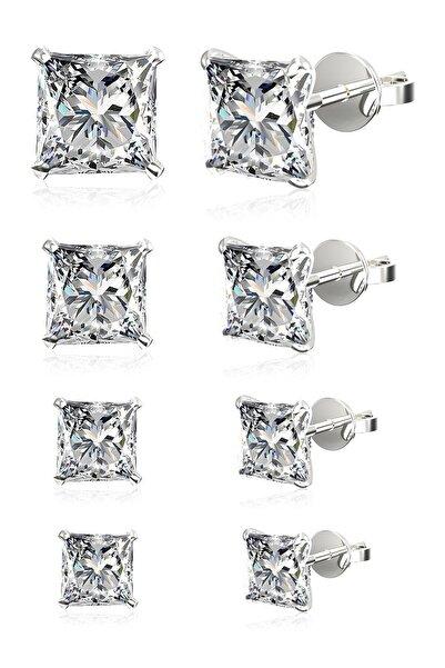 Silver Unisex 4 Çift Tek Taş Beckham Zirkon Taşlı Kare Gümüş Küpe Seti 4,5,6,7 Mm Omr8238