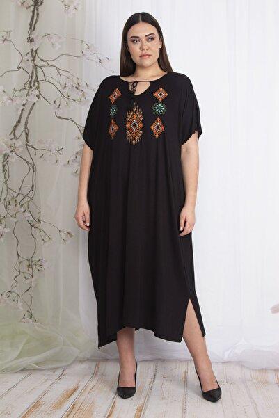 Kadın Siyah Nakış Detaylı Rahat Kesim Elbise 65N22609