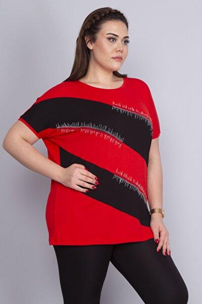 Kadın Kırmızı Taş Detaylı Düşük Kollu Viskon Bluz 65N22687