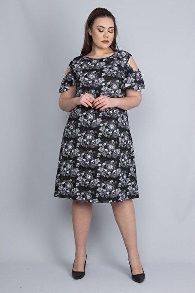 Kadın Siyah Omuz Açık Elbise 65N22672