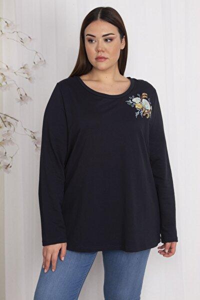 Kadın Lacivert Nakış Detaylı Sweatshirt 65N22648