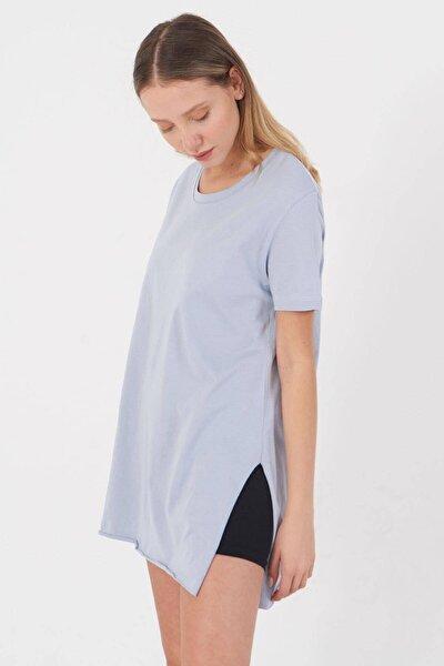 Kadın Buz Mavi Bisiklet Yaka T-Shirt P0101 - U4Y1 Adx-00007204