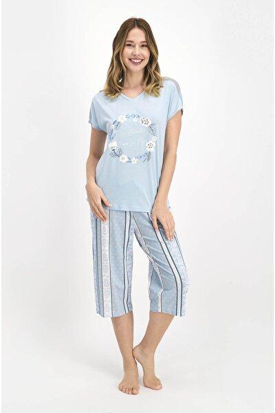 Kadın Mavi Çiçek Baskılı Kısa Kol Kaprili Pijama Takımı