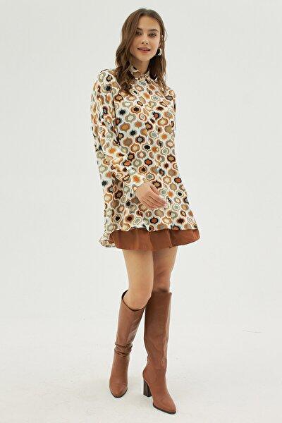 Kadın Desenli Oversize Yarasa Kollu Gömlek Y19w109-30638
