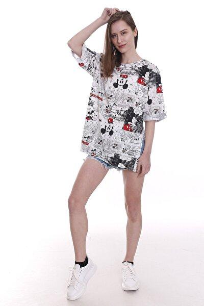 Kadın Kırmızı Beyaz Mickey Mouse Baskılı T-shirt