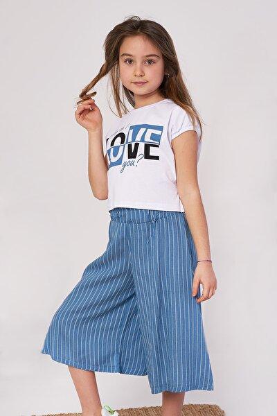 Kız Çocuk Tişört Pantolon Love Baskılı Takım 5-8 Yaş
