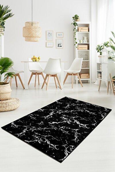 Siyah Beyaz Mermer Desenli Kaymaz Taban Yıkanabilir Halı