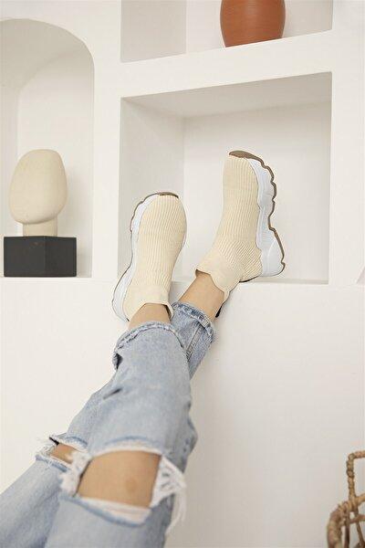Kadın Bej İrina Streç Triko Spor Ayakkabı