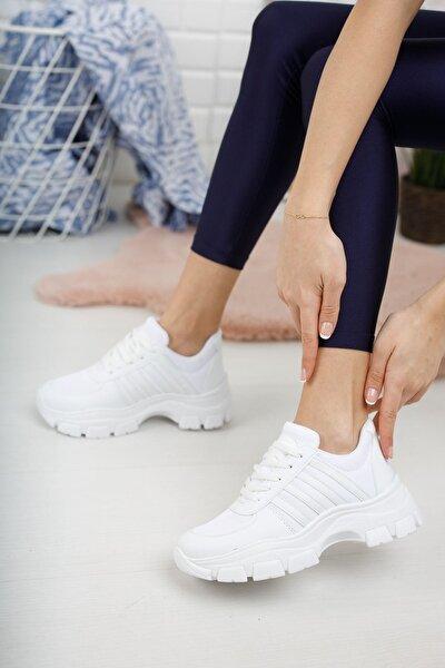 Jennis Kadın Beyaz Bağcıklı Spor Ayakkabı
