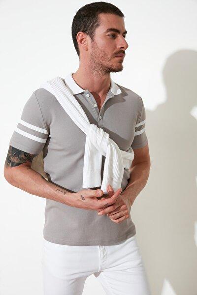 Gri Erkek Slim Fit Polo Yaka T-Shirt TMNSS21TS0516