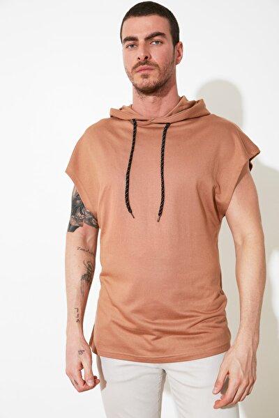 Koyu Bej Erkek Kapüşonlu Oversize Kısa Kollu  Sweatshirt TMNSS20SW0148