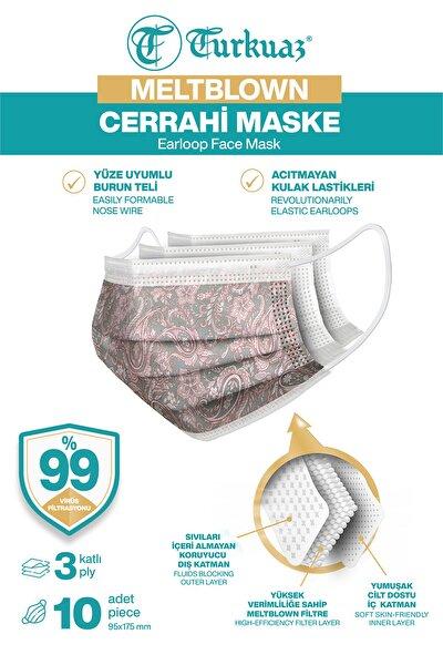 Desenli 10 Adet Cerrahi Maske 3 Kat Meltbrown Burun Telli Yumuşak Elastik Lastikli Pembe Dantelli