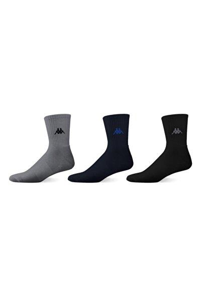 Erkek Laci Gri Siyah Kısa Konç Çorap 3'lü Paket