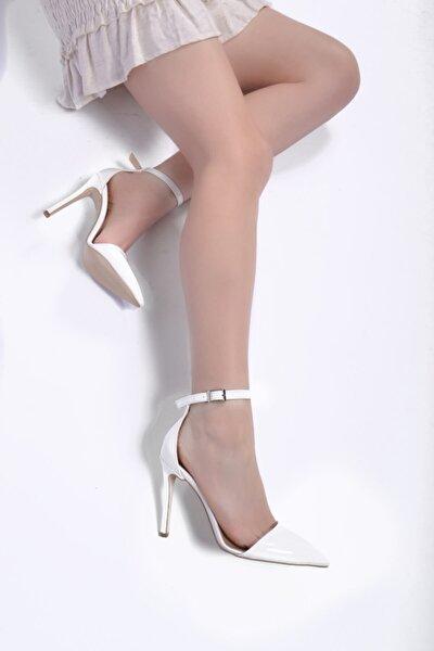 Kadın Yüksek İnce Topuklu Parlak Beyaz Rugan Stiletto Ayakkabı