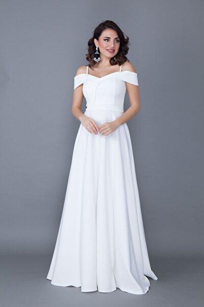Kadın Beyaz Askılı Düşük Omuz Detay Maxi Boy Abiye Elbise