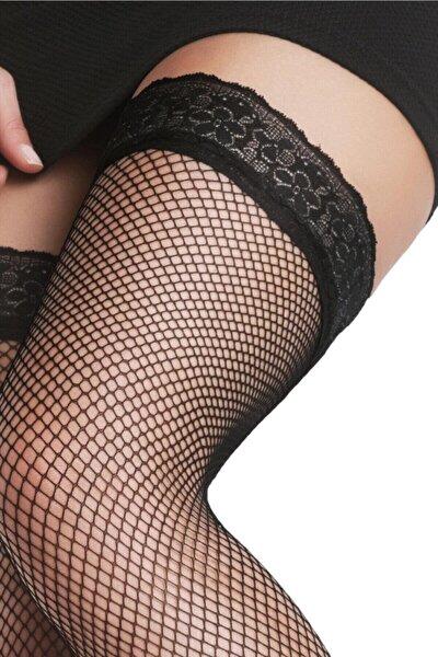 File Desenli Jartiyer Çorap Siyah