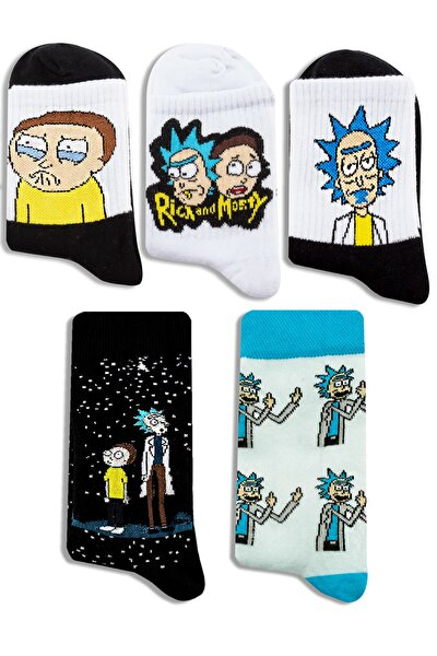 Rick & Morty Desenli 5 'li Renkli Çorap Seti