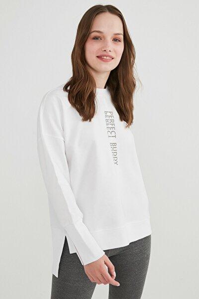 Kadın Beyaz Outside Oversize Sweatshirt