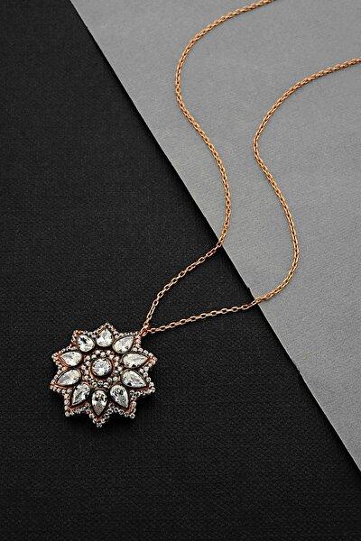 Gümüş Elmas Kesim Çiçek Model Kolye - N163301