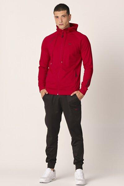Erkek Kırmızı Dalgıç Kumaş Eşofman Takımı
