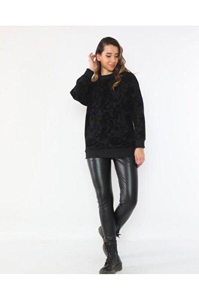 Kadın Siyah  Flok Desenli Oversize Sweatshirt