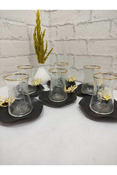 6 Kişilik Mat Sade Özel Tasarım Japon Çiçeği Çay Seti