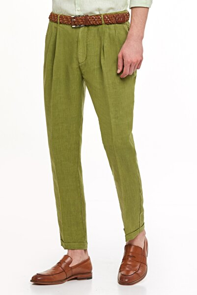 Erkek Yeşil Saf Keten Pileli Pantolon