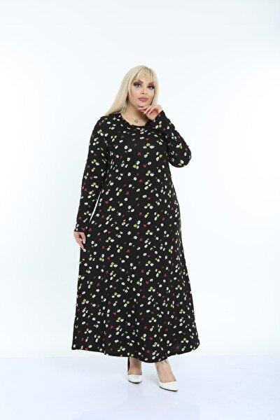 Kadın Siyah Papatya Desenli Yaka Pervazlı Viskon Elbise