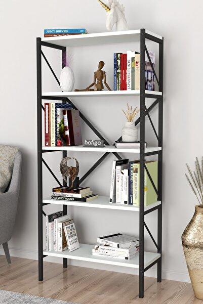 Dekoratif 5 Raflı Kitaplık Metal Kitaplık Beyaz