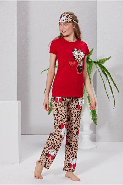 Kadın Kırmızı Minnie Baskılı Pijama Takımı
