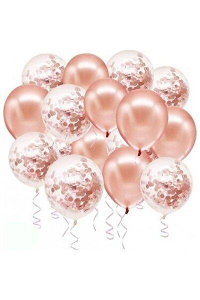 Rose Gold Konfetili Şeffaf Metalik Balon 20 Adet