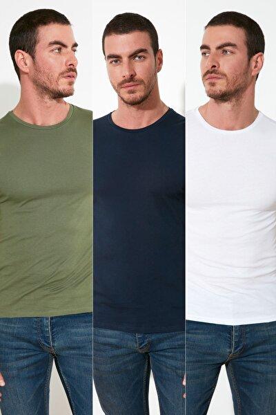Çok Renkli Erkek Basic 3'lü Paket- Slim Fit Bisiklet Yaka Kısa Kollu T-Shirt TMNSS21TS1048