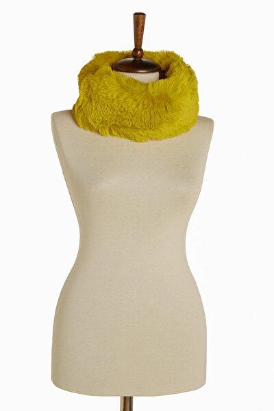 Kadın Suni Kürk Boyunluk Başlık Sarı 11*62cm 9599