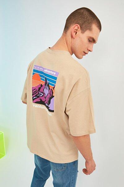 Taş Erkek Oversize Bisiklet Yaka Kısa Kollu Baskılı T-Shirt TMNSS21TS1227