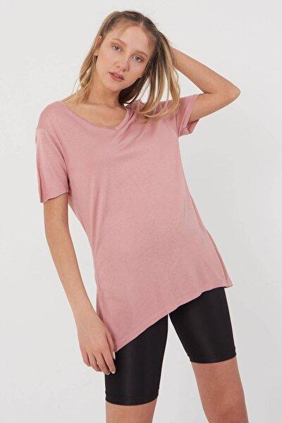 Kadın Pudra V Yaka T-Shirt B0225 - L7 - L8 Adx-00008886