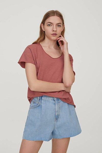 Kadın Kil Rengi Biyeli Dikişli Basic T-Shirt 05236307
