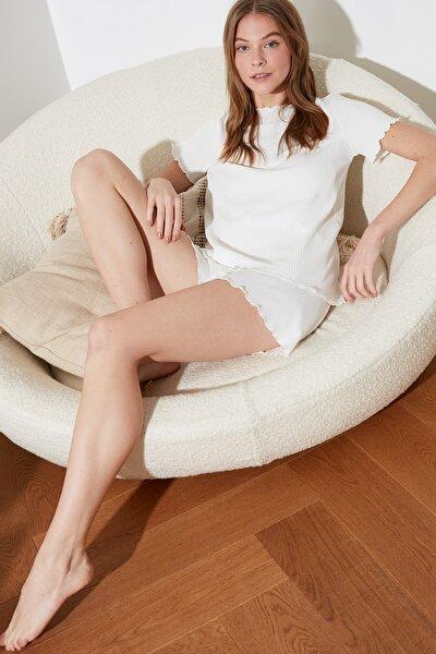 Beyaz Kaşkorse Örme Pijama Takımı THMSS21PT0259