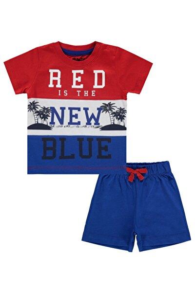 Erkek Bebek Saks Mavisi  Şortlu Takım