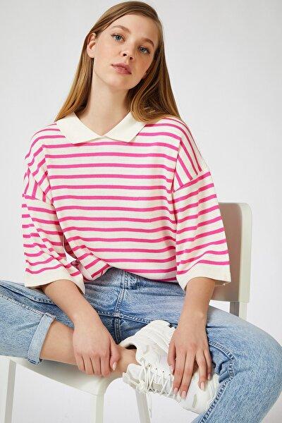 Kadın Pembe Gömlek Yakalı Çizgili Triko Kazak US00453
