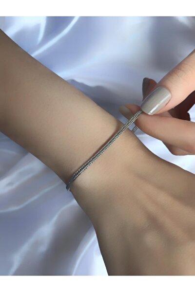 Unisex Gümüş Renk Tilki Kuyruk Zincir Kaplama Bileklik